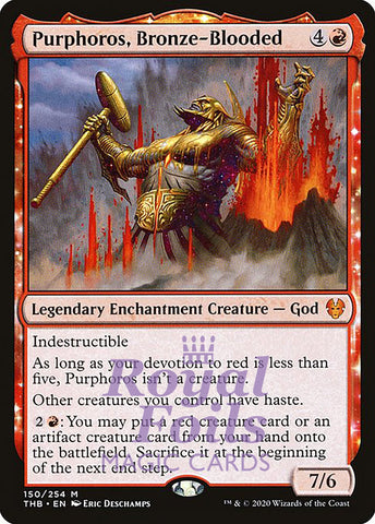 **1x FOIL Purphoros, Bronze-Blooded** THB MTG Theros Beyond Death Mythic MINT red