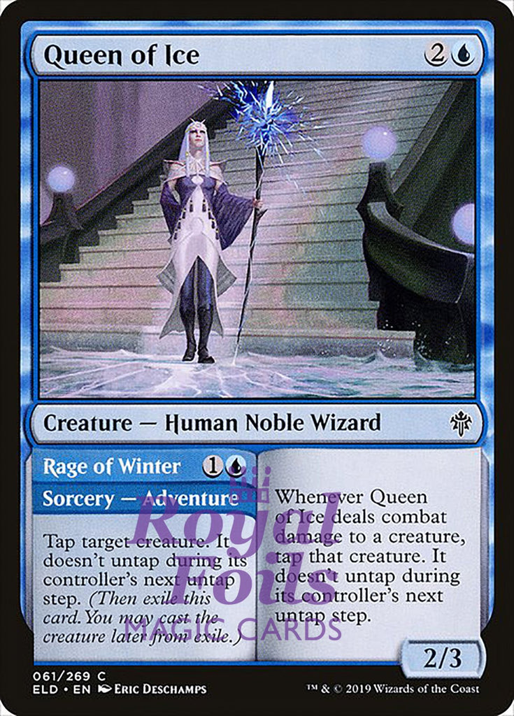 **3x FOIL Queen of Ice** ELD MTG Throne of Eldraine Common MINT blue