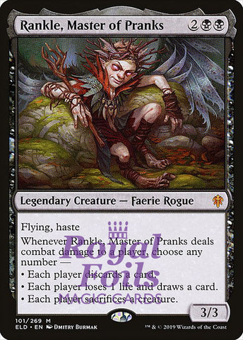 **1x FOIL Rankle, Master of Pranks** ELD MTG Throne of Eldraine Mythic MINT black