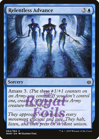 **2x FOIL Relentless Advance** WAR MTG War of the Spark Common MINT blue