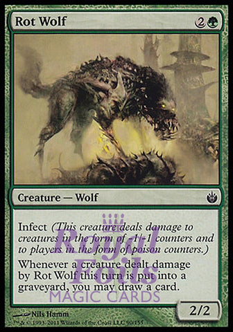**1x FOIL Rot Wolf** MBS MTG Mirrodin Besieged Common MINT green