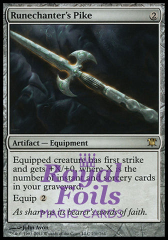 **1x FOIL Runechanter's Pike** ISD MTG Innistrad Rare NM artifact