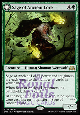 **1x FOIL Sage of Ancient Lore // Werewolf of Ancient Hunger** SOI MTG Shadows Over Innistrad Rare MINT green