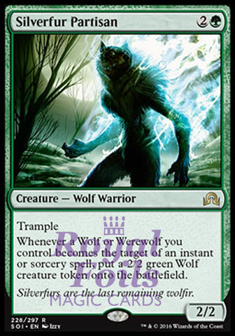 **1x FOIL Silverfur Partisan** SOI MTG Shadows Over Innistrad Rare MINT green