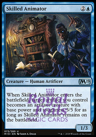 **2x FOIL Skilled Animator** M19 MTG Core Set 2019 Uncommon MINT blue