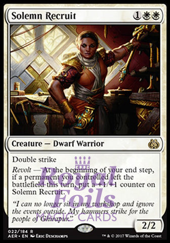 **2x FOIL Solemn Recruit** AER MTG Aether Revolt Rare MINT white
