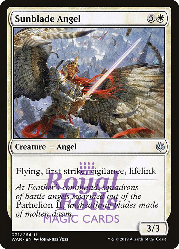 **3x FOIL Sunblade Angel** WAR MTG War of the Spark Uncommon MINT white