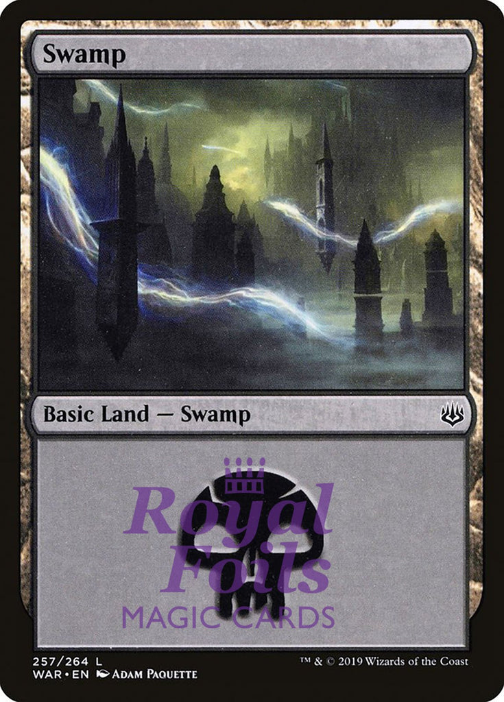 **2x FOIL Swamp #257** WAR MTG War of the Spark Basic Land MINT black