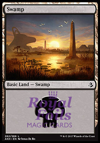 **2x FOIL Swamp #262** AKH MTG Amonkhet Basic Land MINT black