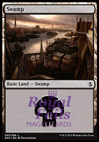 **2x FOIL Swamp #263** AKH MTG Amonkhet Basic Land MINT black