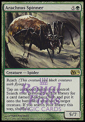 **2x FOIL Arachnus Spinner** MTG M12 Magic 2012 Core Set Rare MINT green