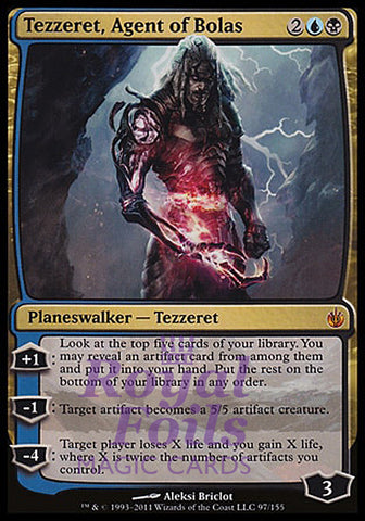 **1x FOIL Tezzeret Agent of Bolas** MBS MTG Mirrodin Besieged Mythic NM+ blue black