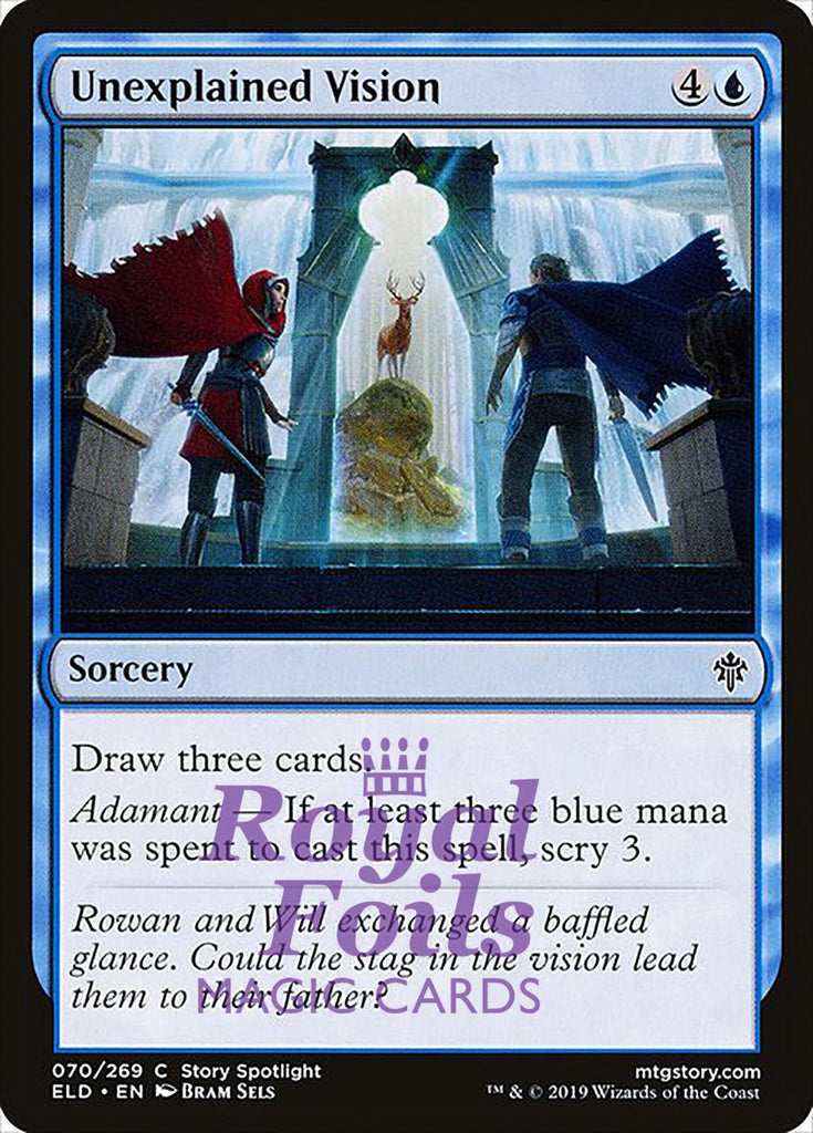**4x FOIL Unexplained Vision** ELD MTG Throne of Eldraine Common MINT blue