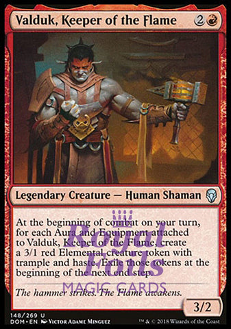 **1x FOIL Valduk, Keeper of the Flame** DOM MTG Dominaria Uncommon MINT red