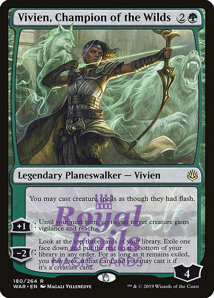 **1x FOIL Vivien, Champion of the Wilds** WAR MTG War of the Spark Rare MINT green