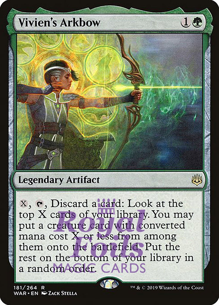 **1x FOIL Vivien's Arkbow** WAR MTG War of the Spark Rare MINT green artifact
