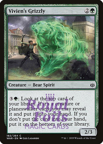 **3x FOIL Vivien's Grizzly** WAR MTG War of the Spark Common MINT green