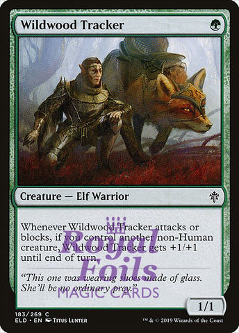 **4x FOIL Wildwood Tracker** ELD MTG Throne of Eldraine Common MINT green