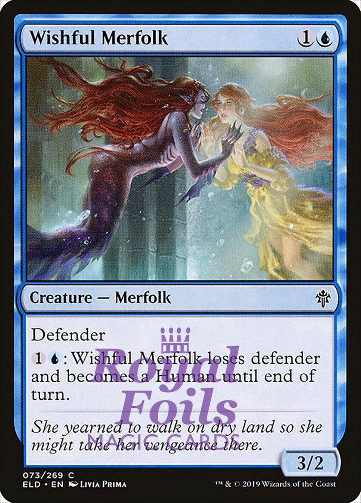**3x FOIL Wishful Merfolk** ELD MTG Throne of Eldraine Common MINT blue
