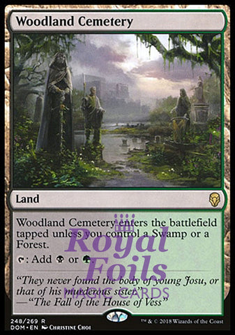 **1x FOIL Woodland Cemetery** DOM MTG Dominaria Rare MINT black green land