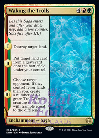 **2x FOIL Waking the Trolls** KHM MTG Kaldheim Rare MINT red green