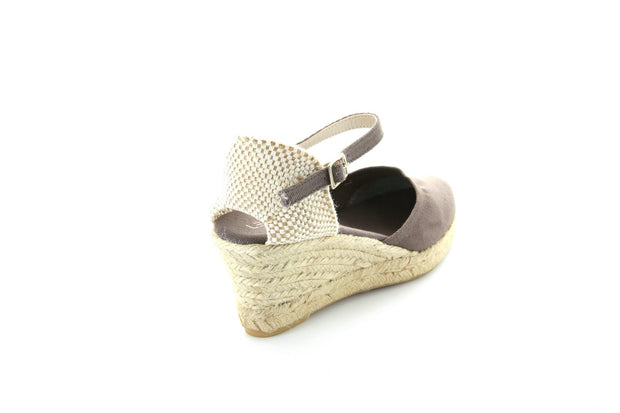 WEDGE-Poppy-Taupe Canvas-womens-shop-LE SANSA