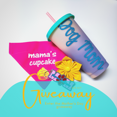 Giveaway with bandana, straw cup, keychain, and flower