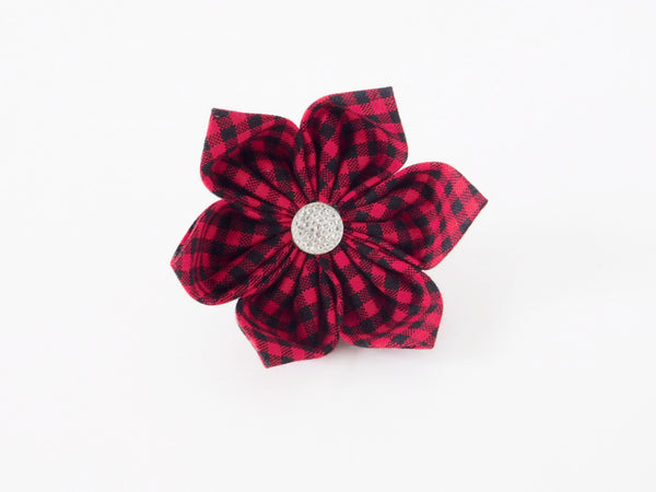 Red Buffalo Plaid Bow Tie/Flower - Charlotte's Pet
