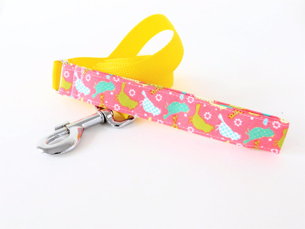 Pink Birds and Nylon Leash - Charlotte's Pet
