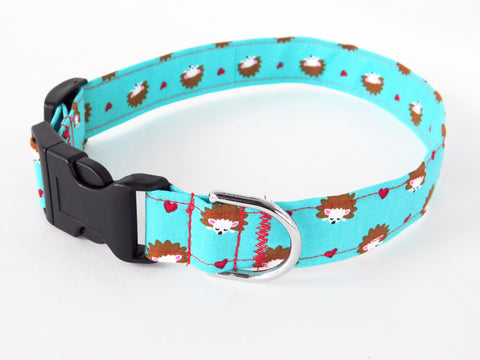 Blue Hedgehogs and Hearts Dog Collar - Charlotte's Pet