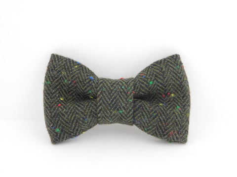Green Woven Collar Bow - Charlotte's Pet