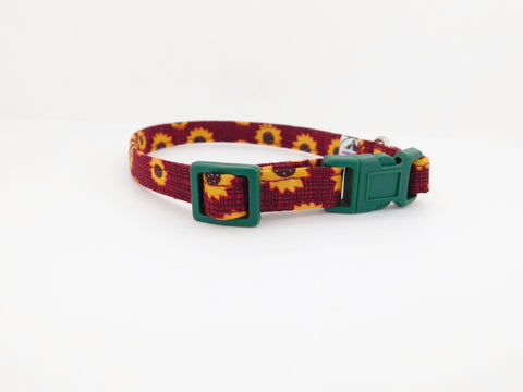 Burgundy Sunflower Collar - Charlotte's Pet
