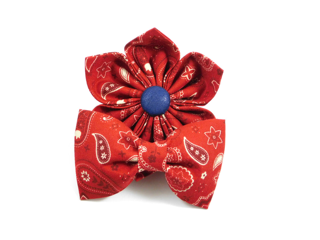 Red Bandana Bow Tie/ Collar Flower - Charlotte's Pet