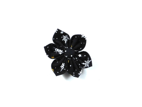 Black Snow Bow Tie/ Collar Flower - Charlotte's Pet