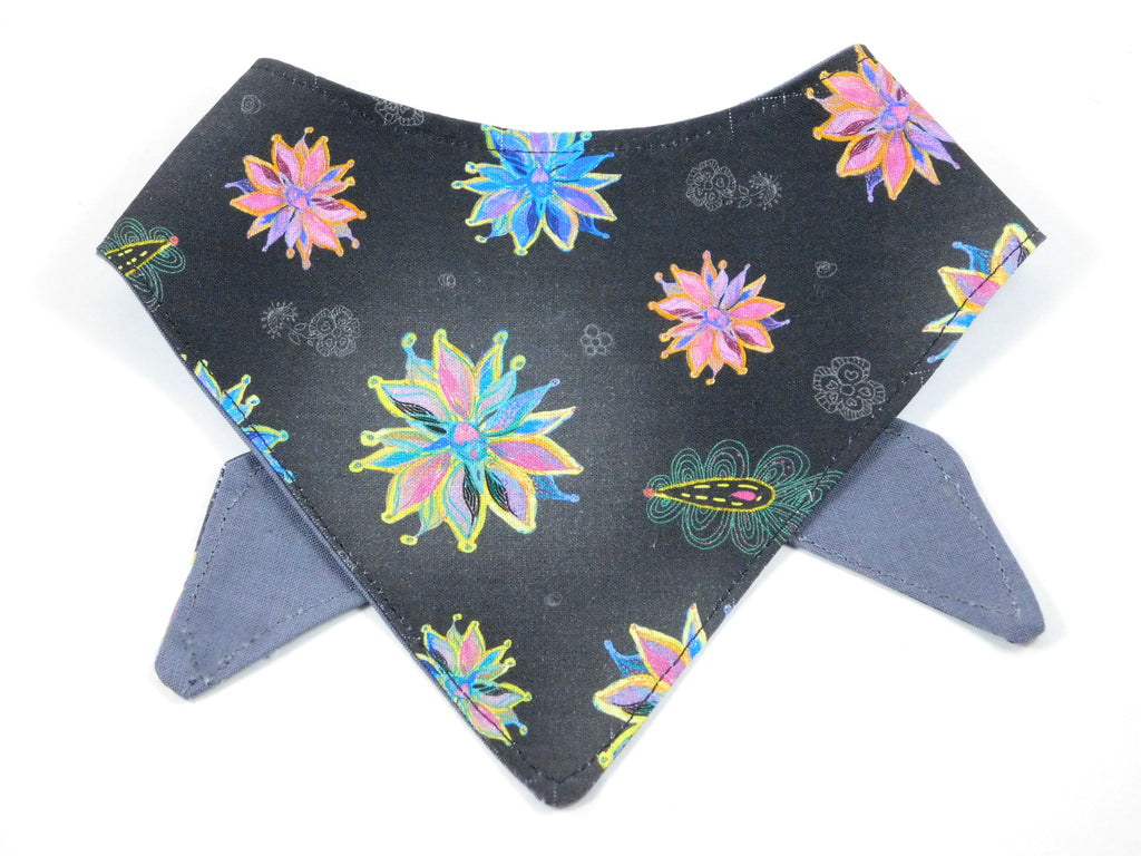 Black Winter Flowers Bandana