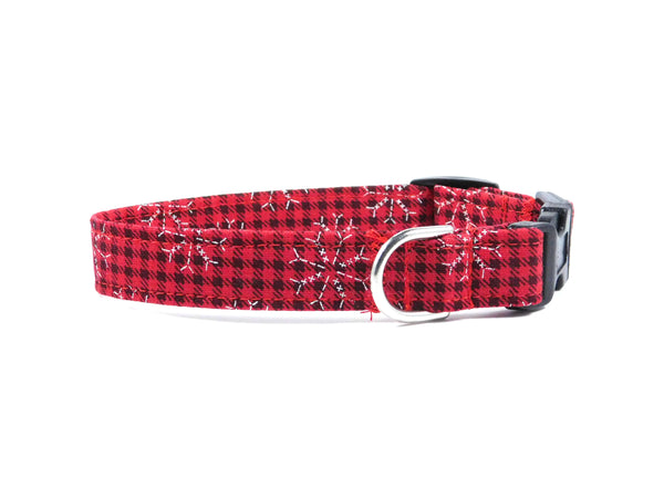 Red Plaid Snowflakes Dog Collar/ Cat Collar - Charlotte's Pet