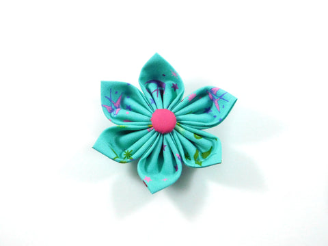 Birds of Summer in Teal Collar Flower/Bow Tie - Charlotte's Pet