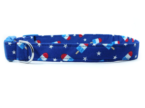 Blue Bomb Pop Dog Collar/ Cat Collar - Charlotte's Pet