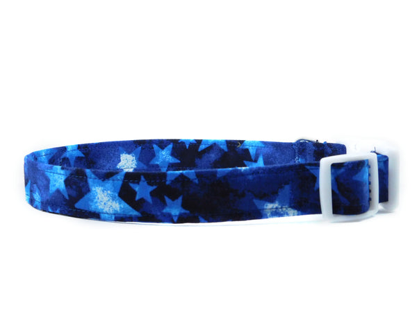 Scattered Blue Stars Dog Collar/ Cat Collar - Charlotte's Pet