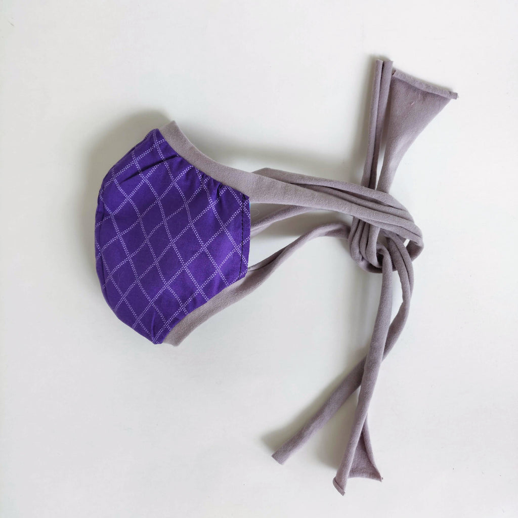 Purple grid fabric Face Mask, nonmedical