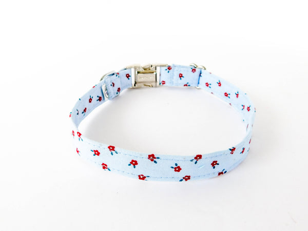 Pale Blue and Red Floral Collar - Charlotte's Pet