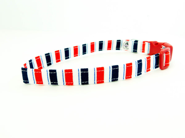 Red and Blue Stripes Collar - Charlotte's Pet