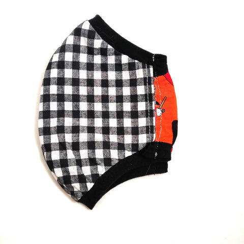 Black Gingham Fabric Face Mask, nonmedical