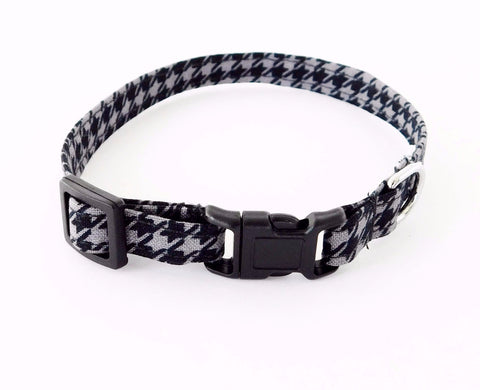Black and Grey Houndstooth Collar - Charlotte's Pet