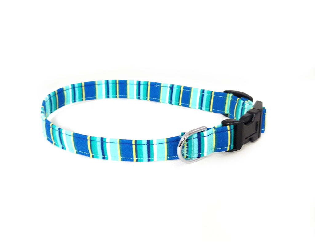Blue Summer Stripes Dog Collar/ Cat Collar