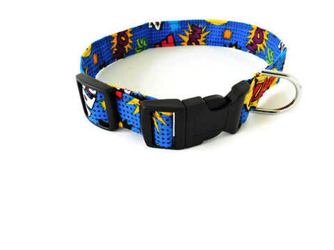 Blue Comic Superhero Collar - Charlotte's Pet