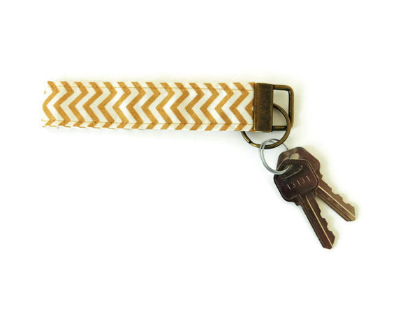 Gold Chevron Key Fob Wristlet - Charlotte's Pet
