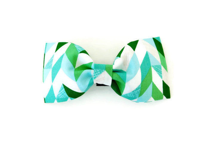 Green Herringbone Bow Tie/ Flower - Charlotte's Pet