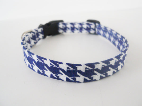 Navy Blue Houndstooth Collar - Charlotte's Pet