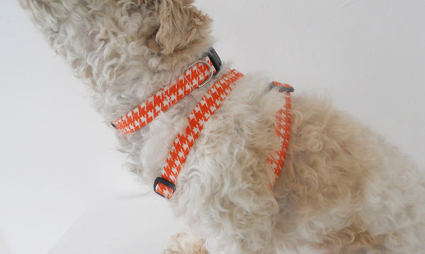 Orange Houndstooth Dog Harness - Charlotte's Pet